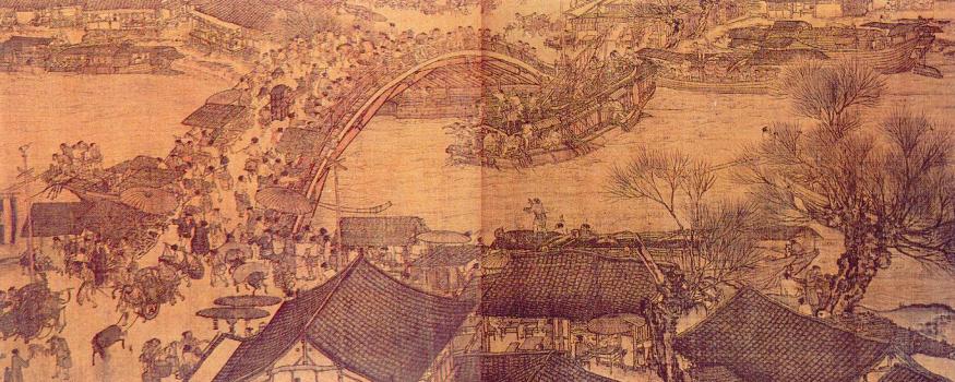 Lungo il fiume durante la festa di Qingming, originale del XII secolo di Zhang Zeduan
