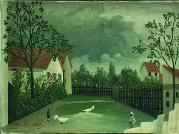 Henri Rousseau, La basse-cour/ Il cortile, 1896 - 1898. Olio su tela, cm 24,6 x 32,9. Parigi, Centre Pompidou, Musée National d'art moderne